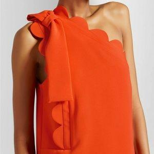 Victoria Beckham one shoulder orange dress
